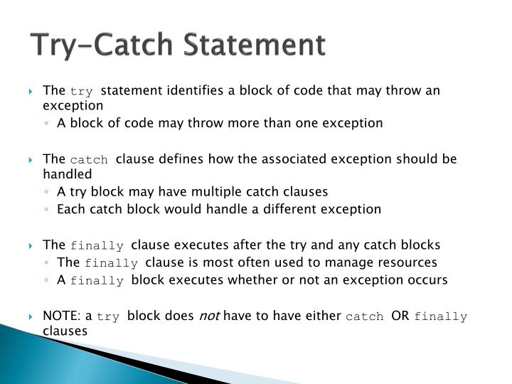 Try-Catch Statement