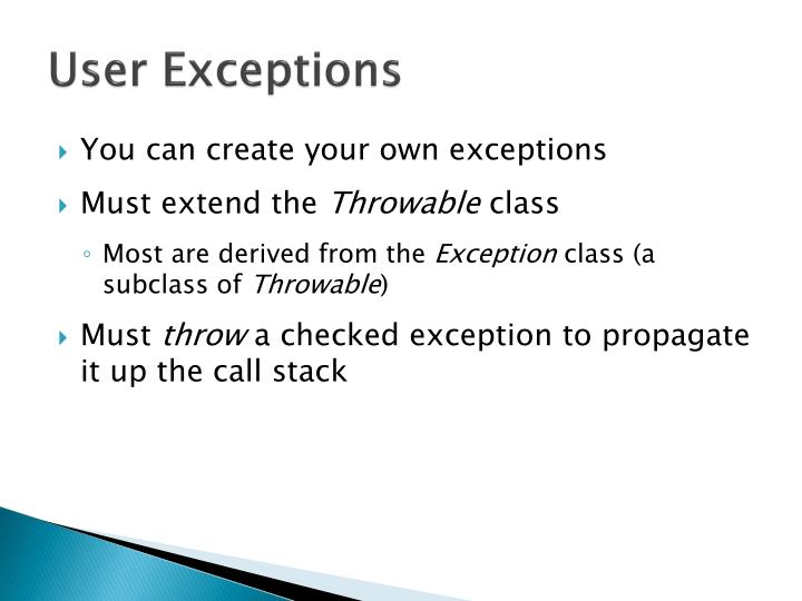 User Exceptions