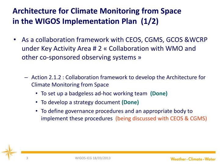 Architecture for Climate Monitoring from Space