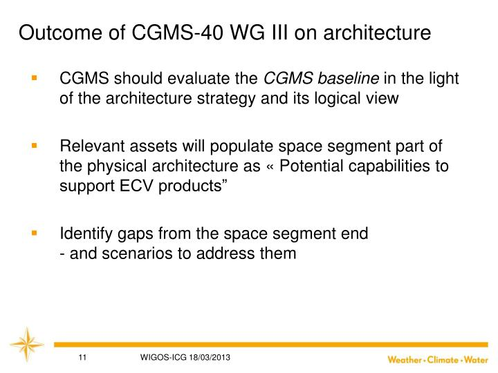 Outcome of CGMS-40 WG III on architecture