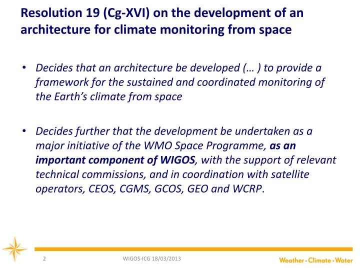 Resolution 19 (Cg-XVI) on the development of an architecture for climate monitoring from space
