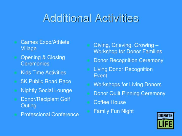 Additional Activities