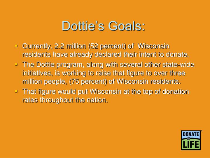 Dottie's Goals: