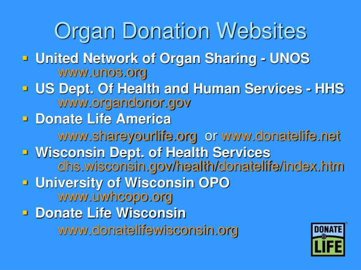 Organ Donation Websites