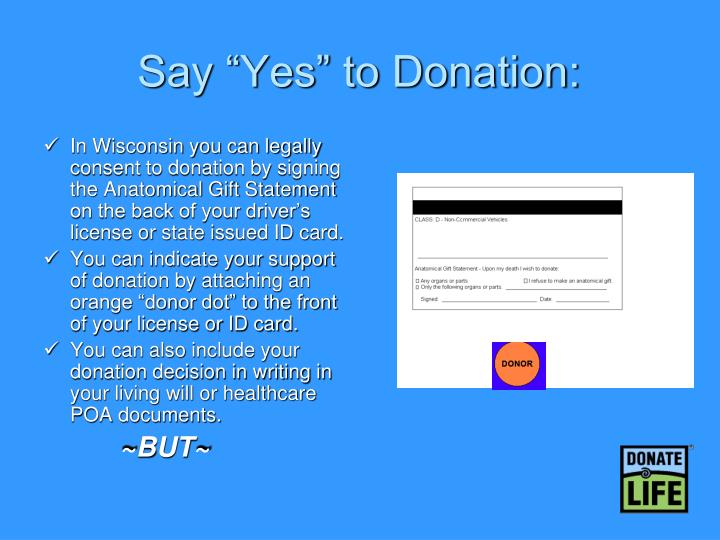 "Say ""Yes"" to Donation:"