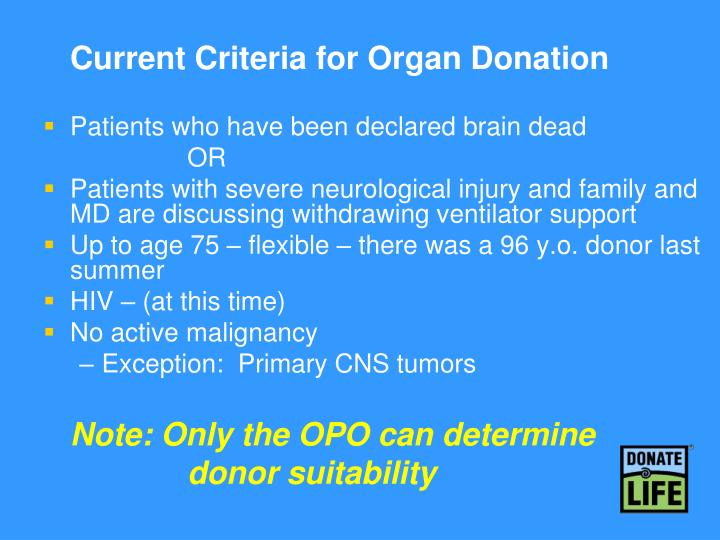 Current Criteria for Organ Donation