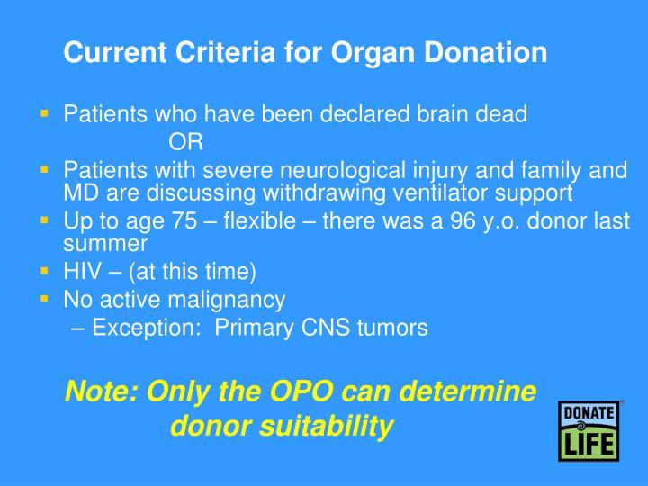 Current Criteria for Organ Donation