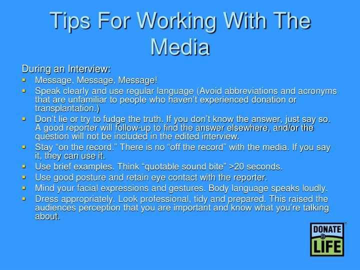 Tips For Working With The Media