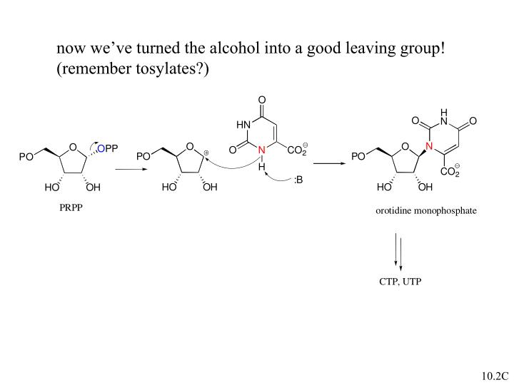 now we've turned the alcohol into a good leaving group!