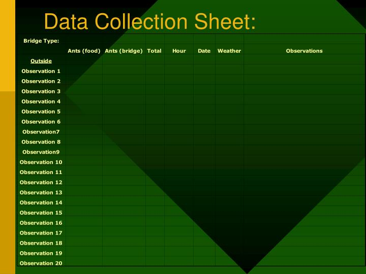 Data Collection Sheet: