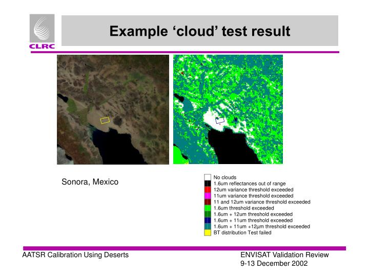 Example 'cloud' test result