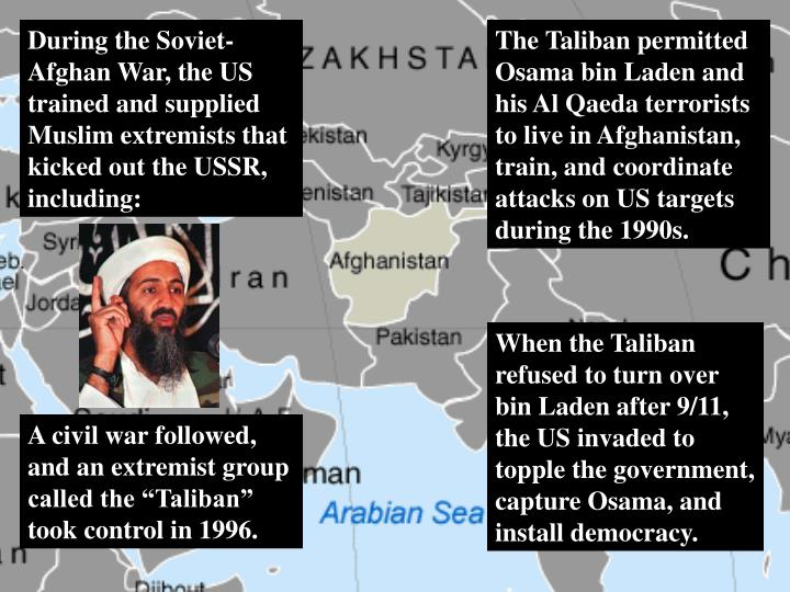 During the Soviet-Afghan War, the US trained and supplied Muslim extremists that kicked out the USSR, including: