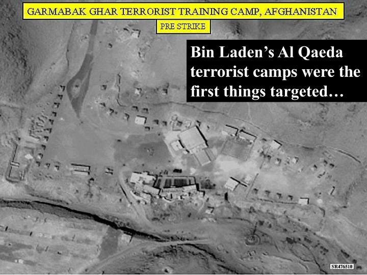 Bin Laden's Al Qaeda terrorist camps were the first things targeted…