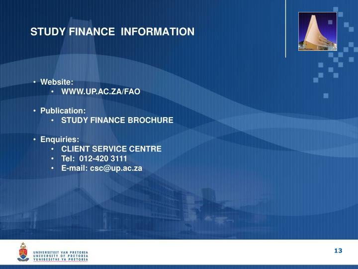 STUDY FINANCE  INFORMATION