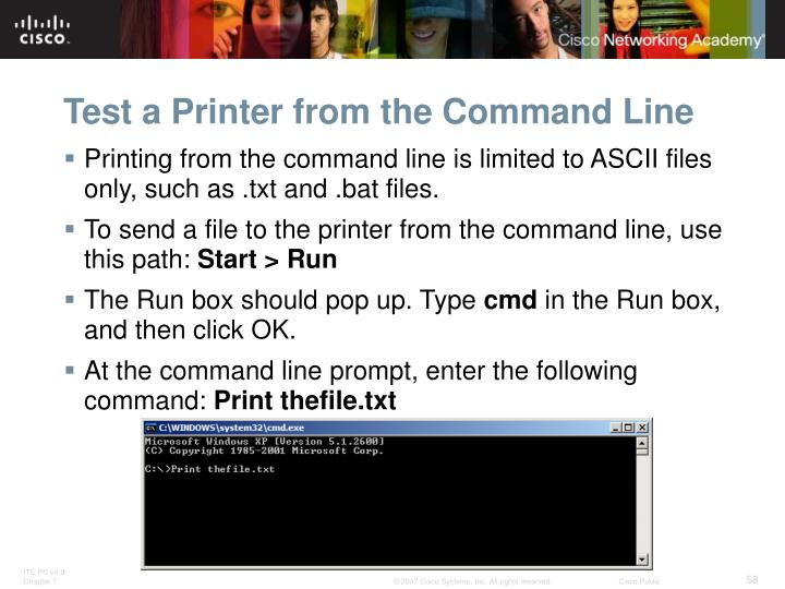 Test a Printer from the Command Line