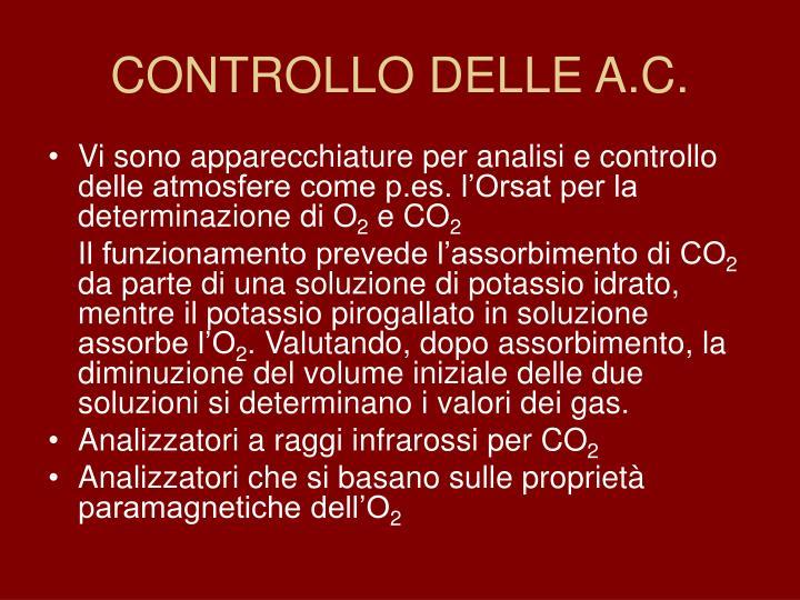 CONTROLLO DELLE A.C.