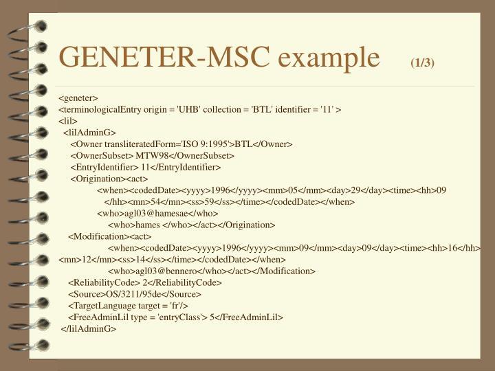 GENETER-MSC example