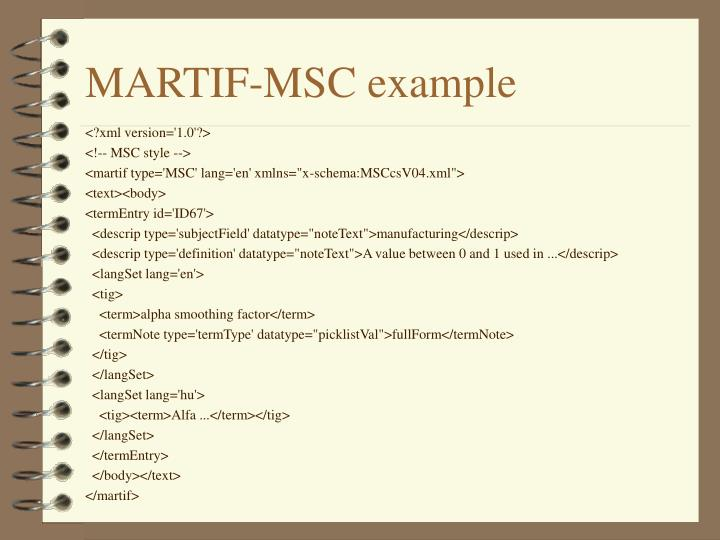 MARTIF-MSC example