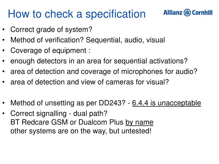How to check a specification