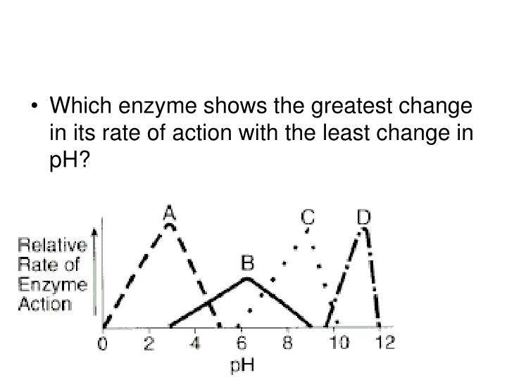 Which enzyme shows the greatest change in its rate of action with the least change in pH?