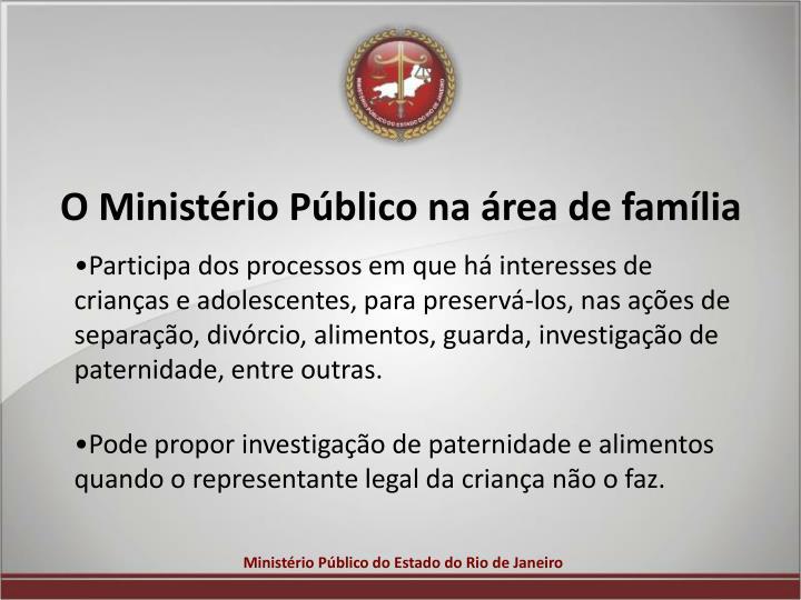 O Ministério Público na área de família