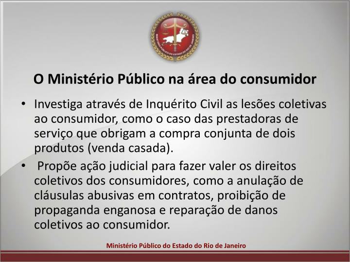 O Ministério Público na área do consumidor