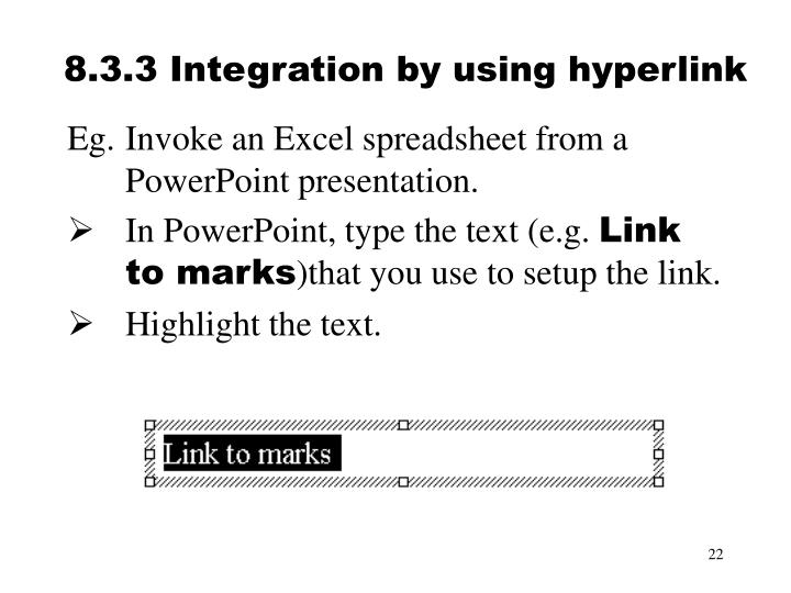 8.3.3 Integration by using hyperlink