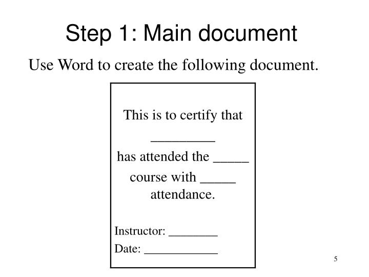 Step 1: Main document