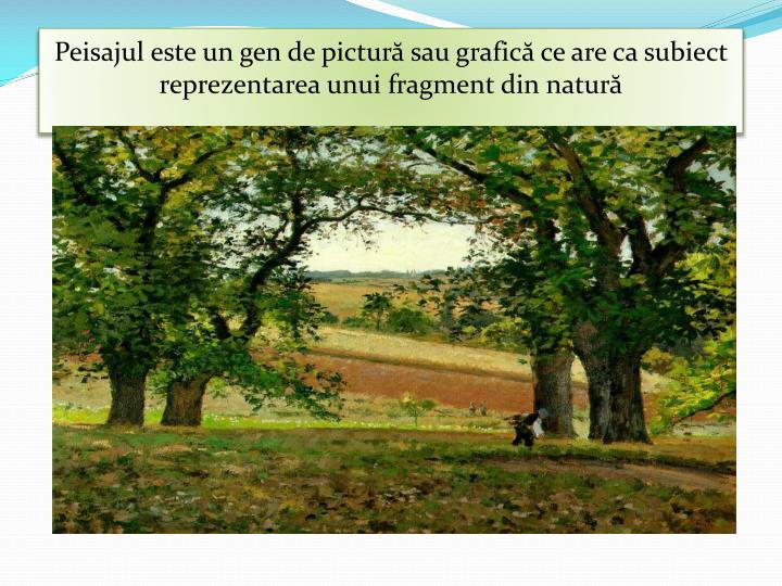 Peisajul este un gen de pictură sau grafică ce are ca subiect reprezentarea unui fragment din natură