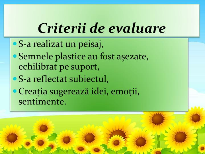 Criterii de evaluare