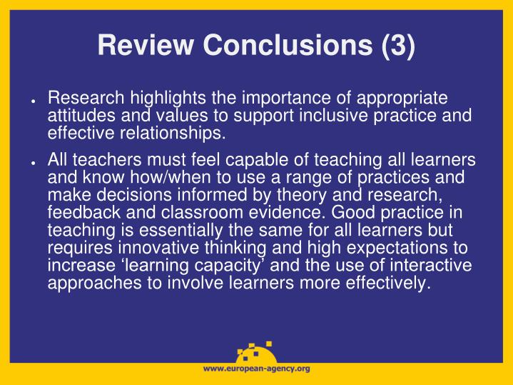 Review Conclusions (3)