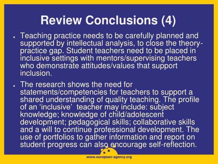 Review Conclusions (4)