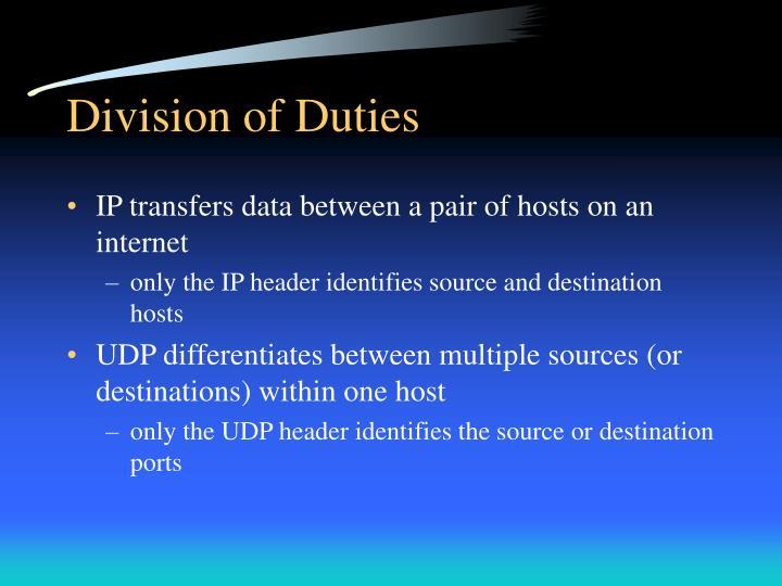 Division of Duties