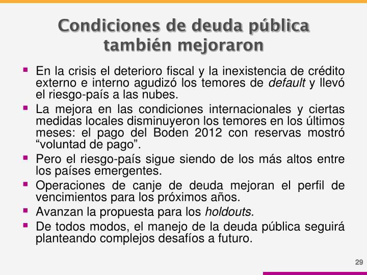 Condiciones de deuda pública