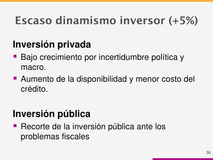 Escaso dinamismo inversor (+5%)