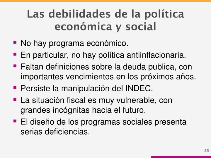 Las debilidades de la política económica y social