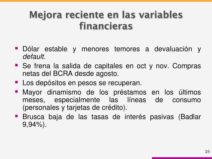 Mejora reciente en las variables financieras