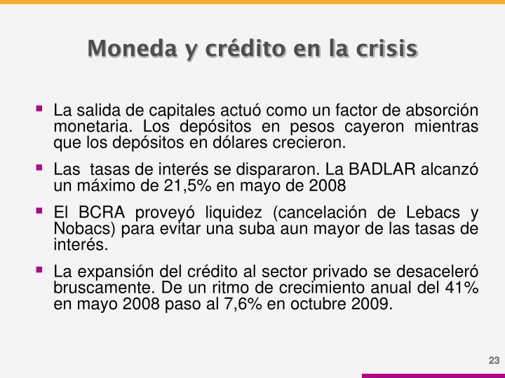 Moneda y crédito en la crisis