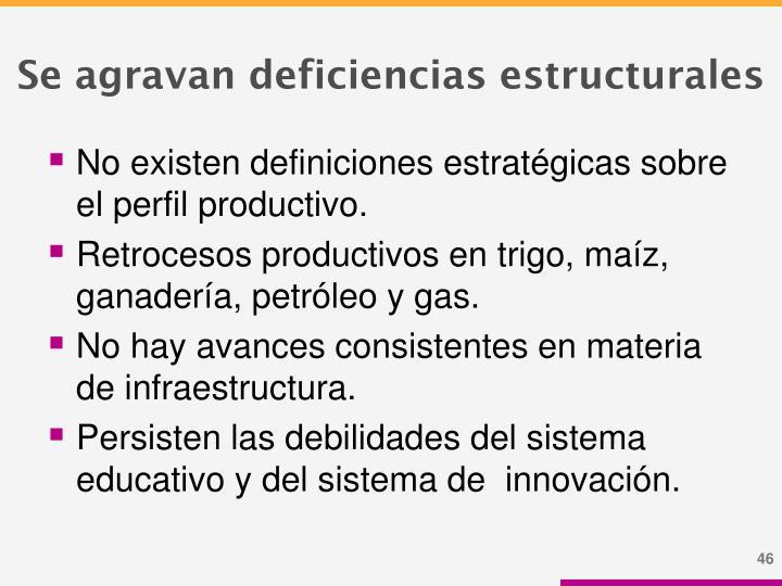Se agravan deficiencias estructurales
