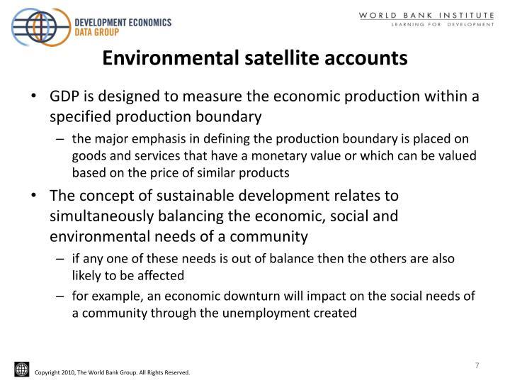 Environmental satellite accounts