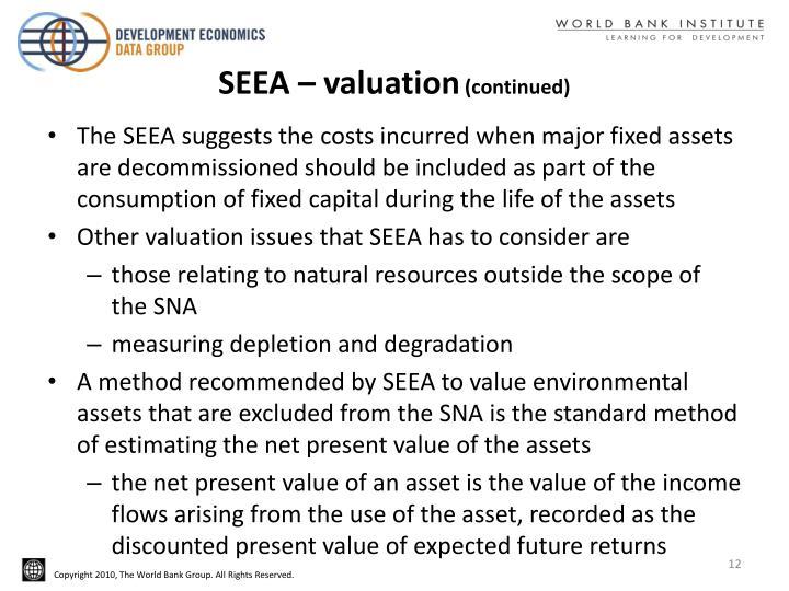 SEEA – valuation