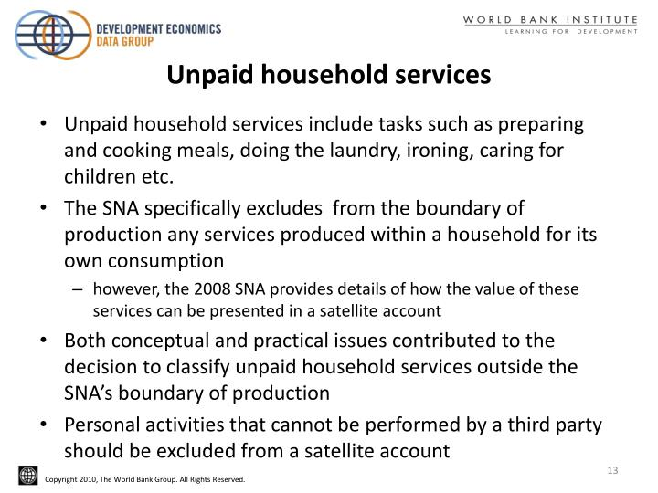 Unpaid household services