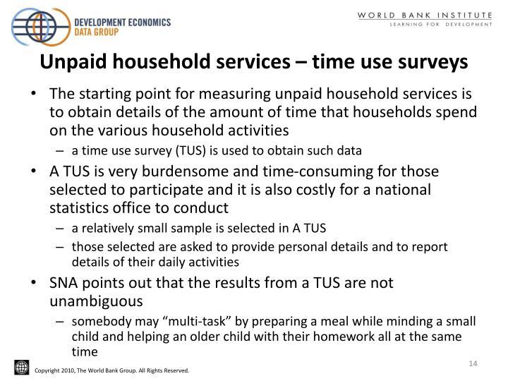 Unpaid household services – time use surveys