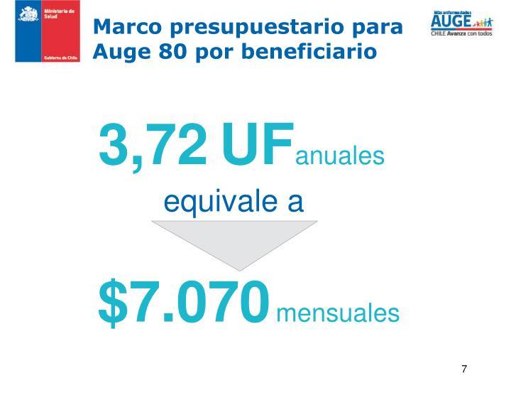 Marco presupuestario para Auge 80 por beneficiario