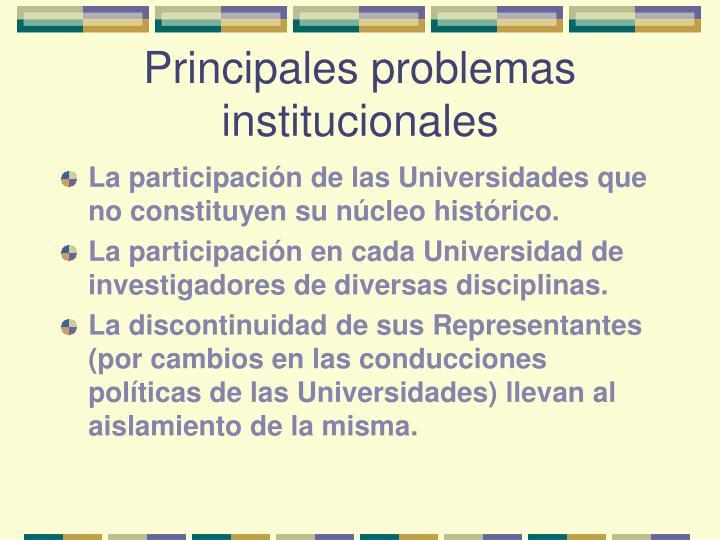 Principales problemas institucionales