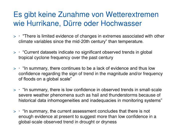Es gibt keine Zunahme von Wetterextremen