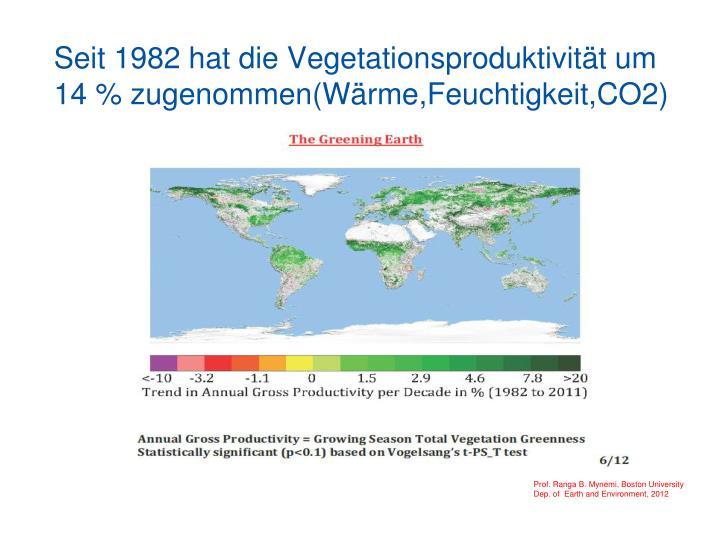 Seit 1982 hat die Vegetationsproduktivität um 14 % zugenommen(Wärme,Feuchtigkeit,CO2)  (Wärme,Feuchtigkeit,CO2)
