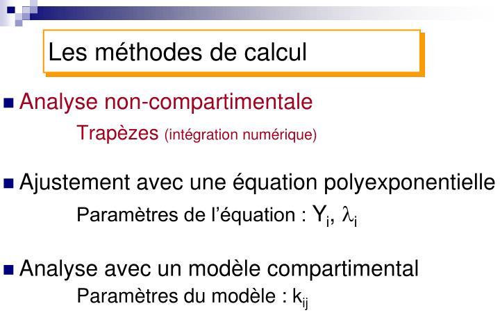 Les méthodes de calcul