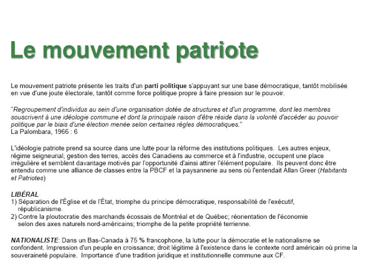 Le mouvement patriote