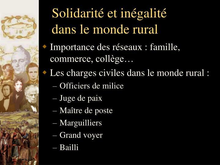 Solidarité et inégalité dans le monde rural